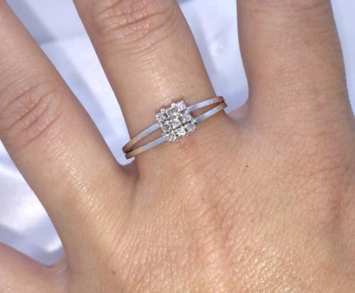 anel chuveiro noivado de ouro branco 18k e brilhantes