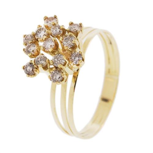 anel chuveiro ouro 18k com diamantes mod. cj1064
