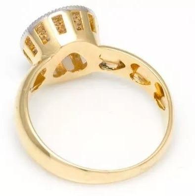 anel chuveiro redondo grande de ouro18k e diamantes an11jk