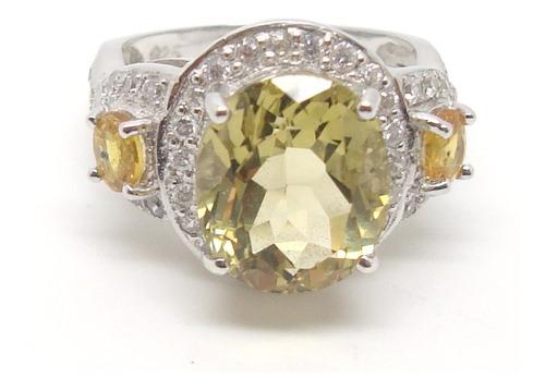 anel citrino safiras naturais prata 925
