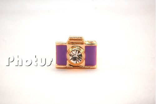 anel câmera fotográfica - cor ouro - roxo