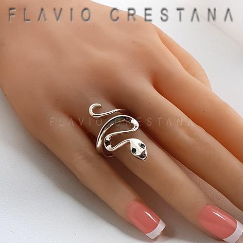 anel cobra, serpente, ajustavel, esmeralda natural, prata 92