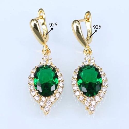 anel colar brincos conjunto banhado ouro 18k, esmeralda