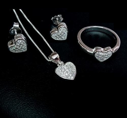 anel colar e brincos feminino prata 925 coração namorados