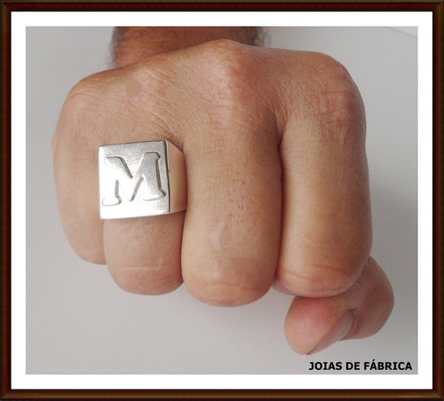 anel com letra em prata 950