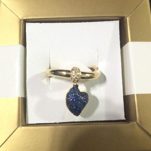 anel com pingente de coração