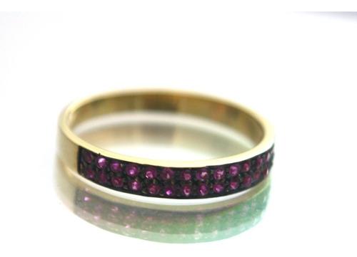 anel com rubi natural em ouro 18k aro 17 - d318