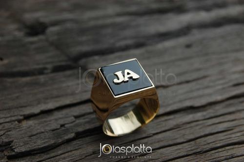 anel comendador 15,0g ônix com inicial em ouro 18k - 750