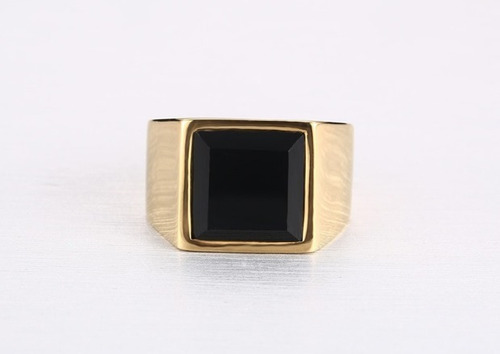 anel comendador - aço - pedra ônix - n 19 - unisex