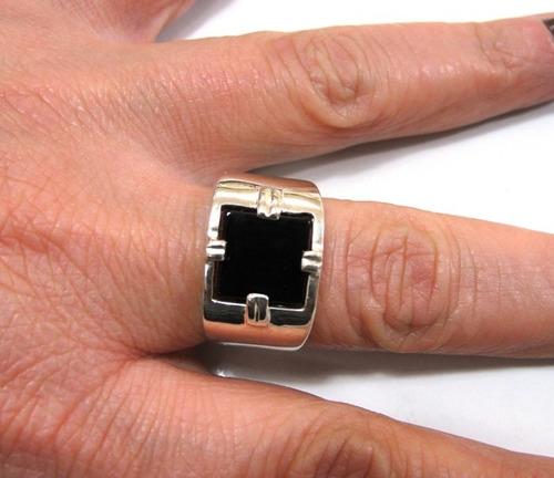 anel comendador homem prata de lei 925 c/ pedra onix - a1132