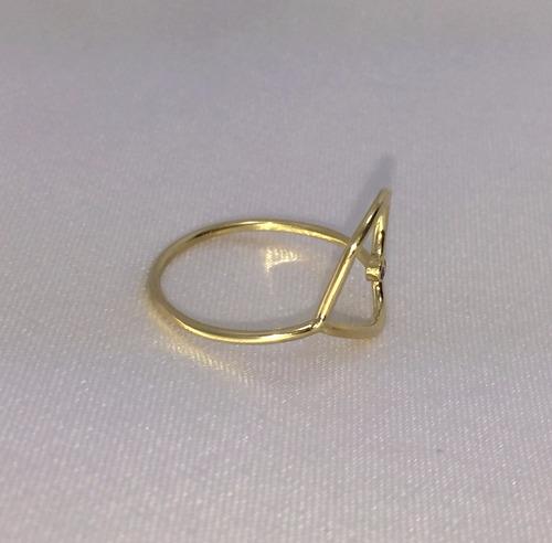 anel coração de ouro amarelo 18k 750 e brilhante lindo