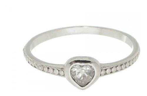 anel coração em prata 925 zirconia