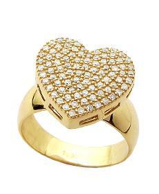 anel coração ouro 18k com 100 pedras diamante de 1 ponto.