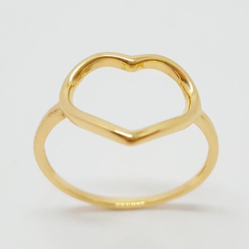 dcc6b2301f58d anel coração vazado dourado. Carregando zoom.
