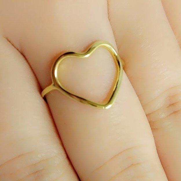 1524d338b393c Anel Coração Vazado Dourado Anel De Falange Meio Do Dedo N16 - R  29 ...