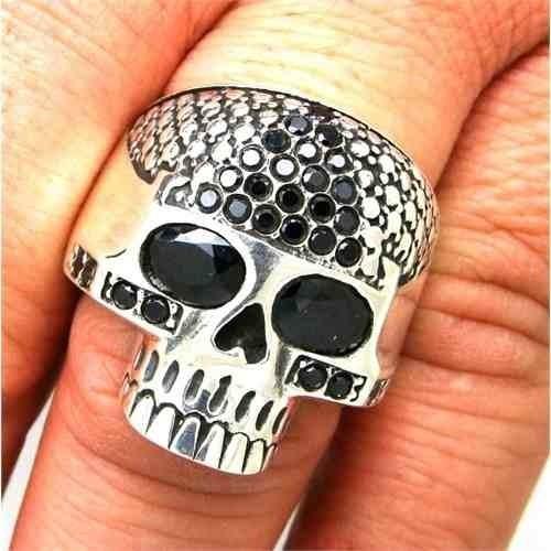 anel cranio gigante pedras negras maciço prata 20953