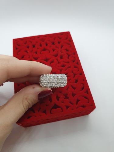 anel cravejado grande em prata 925 c garantia lj002