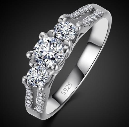 anel cristal banhado a prata brilhante stras + frete grátis