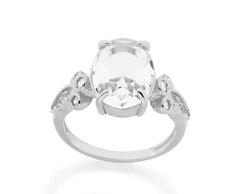 anel cristal oval facetado 10x14mm rommanel 110663
