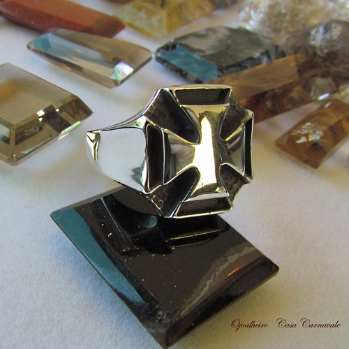 anel cruz de malta prata maciça 950k ojoalheiro