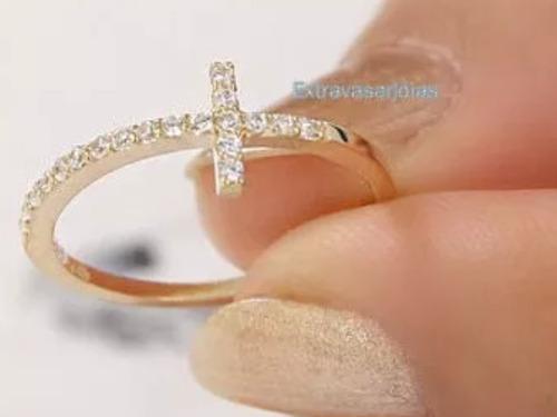 anel cruz em ouro amarelo 18k/750 e brilhantes.frete grátis