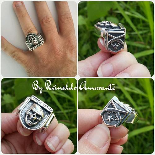 anel da força tática, caveira, garruchas em prata