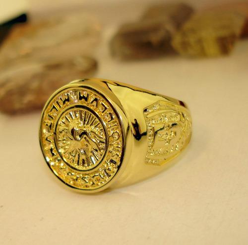 anel da ordem dos cavaleiros templarios banho ouro cod 1621