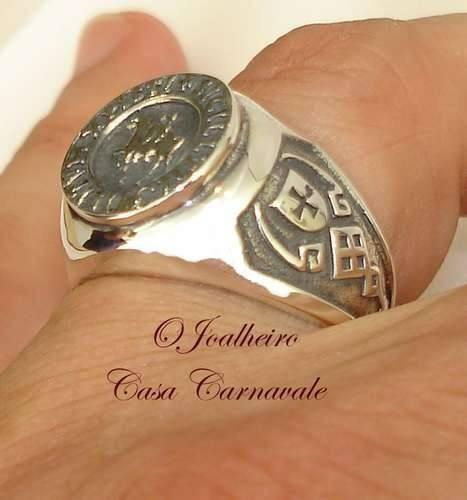 anel da ordem dos cavaleiros templarios prata 950k