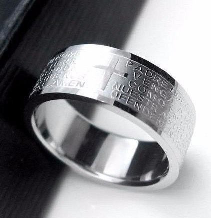 anel de aço inox oração pai nosso