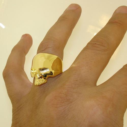 anel de caveira banho ouro 18k lindo original em promoção