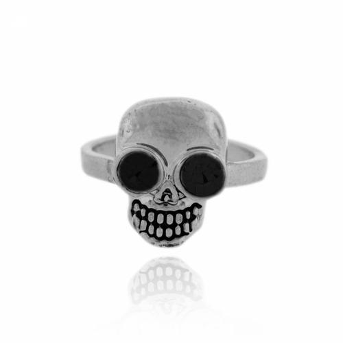 anel de caveira com olho em strass preto tamanho 23