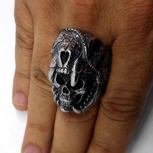 anel de caveira crânio apache viking moto rock