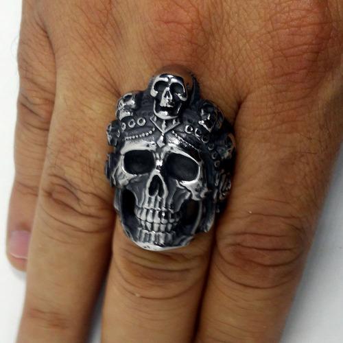 anel de caveira crânios viking moto rock