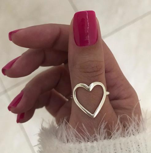 anel de coração grande vazado em prata 925 estilo pandora