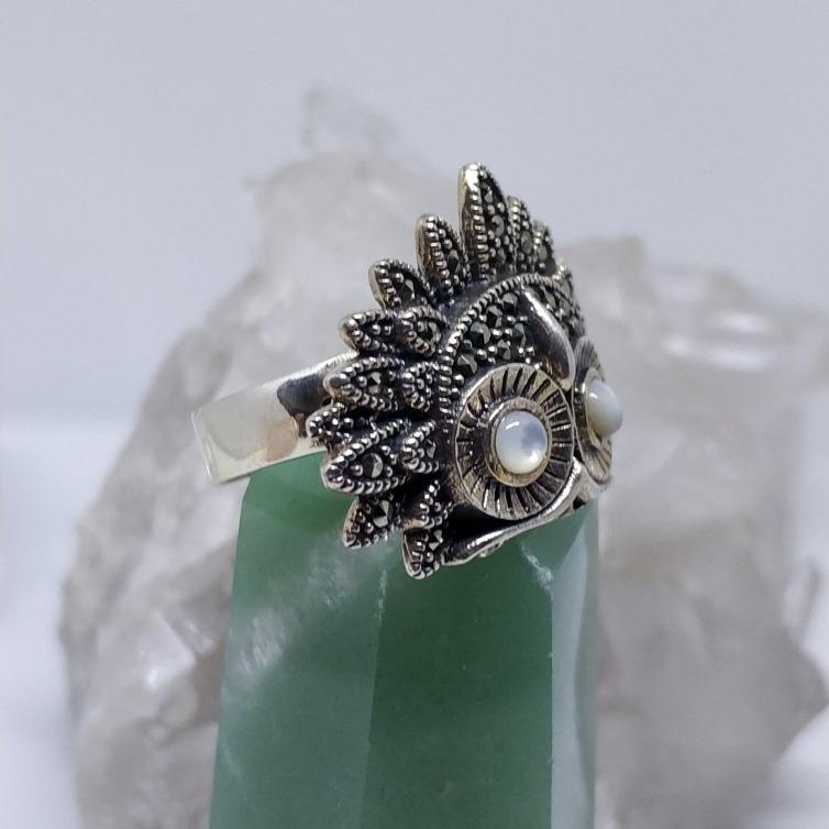Resultado de imagem para prata e marcassita anel de coruja