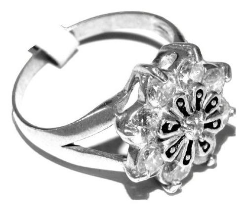 anel de flor em prata 950 com zircônias