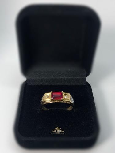 anel de formatura direito masculino - diamantes e rubi