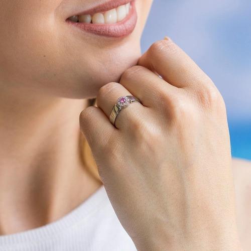 anel de formatura em ouro branco trabalhado zircônia redonda