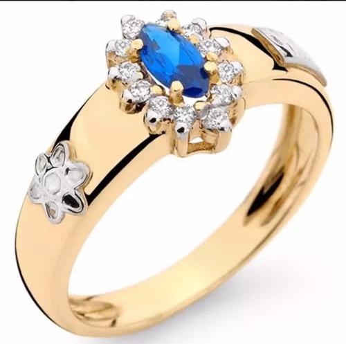 anel de formatura feminino ouro 18k com pedras naturais