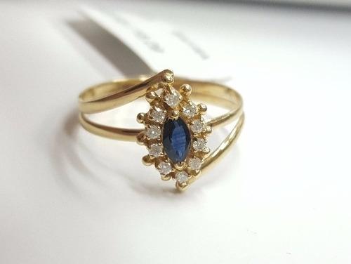 anel de formatura feminino pedra safira azul + brilhantes