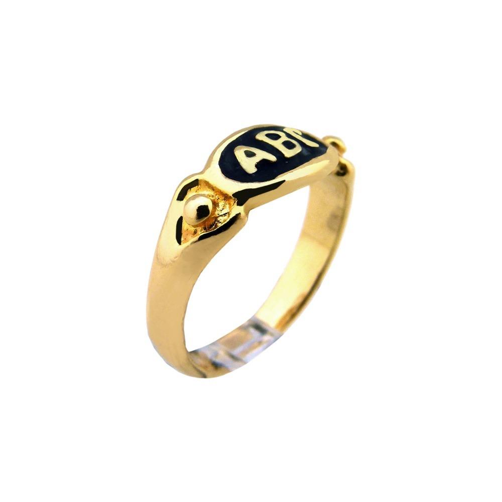 06a5b1cc28b anel de formatura infantil criança abc folheado a ouro 18k. Carregando zoom.