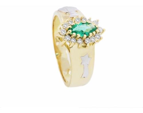 anel de formatura ouro 18k pedras naturais mod. cj1144