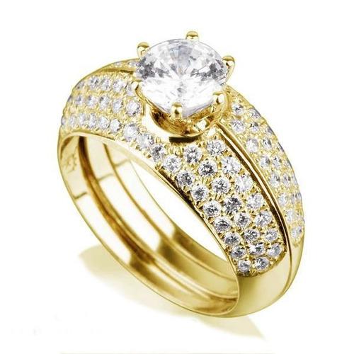 anel de noivado em ouro 18k com diamantes alma gêmea
