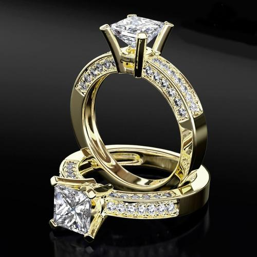 anel de noivado em ouro 18k com diamantes solitário luxo