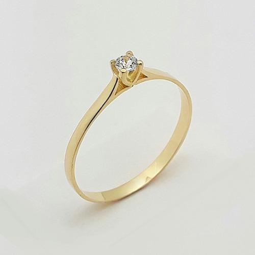 anel de noivado solitário ouro 18k  feminino zircônia cod006