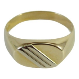 Anel De Ouro 18k - 2 Tons De Ouro - Amarelo / Branco