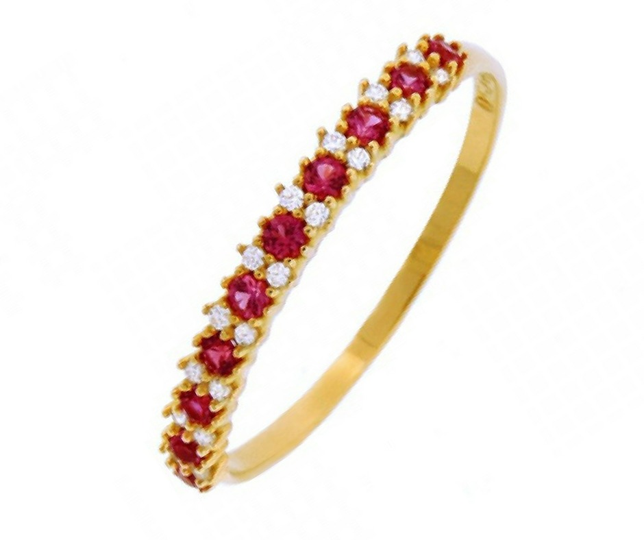 0093899668132 Anel De Ouro 18k Aparador Meia Aliança Com Diamante E Rubi - R  1.701
