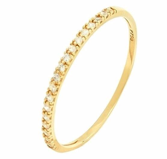Anel De Ouro 18k Aparador Meia Aliança Pedras Solitário - R  269,99 em  Mercado Livre 457ef0803c
