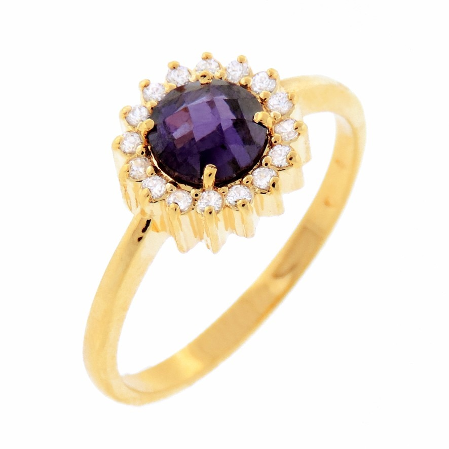 0b88d15b99b99 anel de ouro 18k feminino com pedras de diamante e ametista. Carregando zoom .