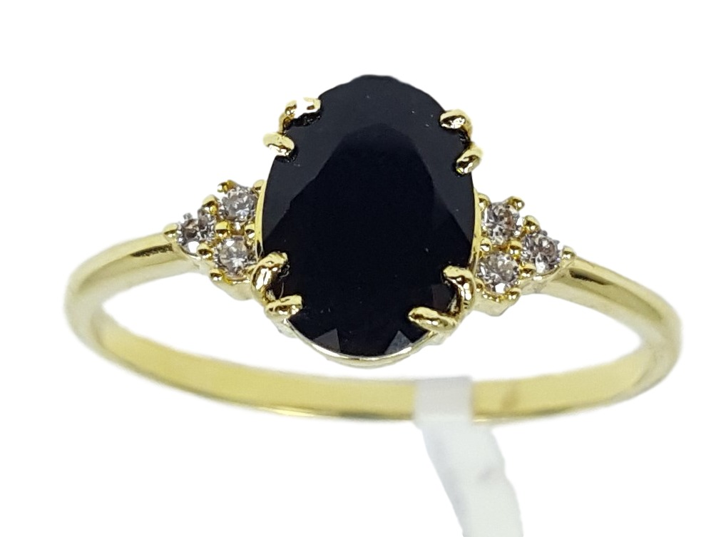 f90d84aa2ef1e anel de ouro 18k feminino pedra oval preta com diamantes. Carregando zoom.